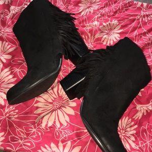 Quipid black fringe ankle boots